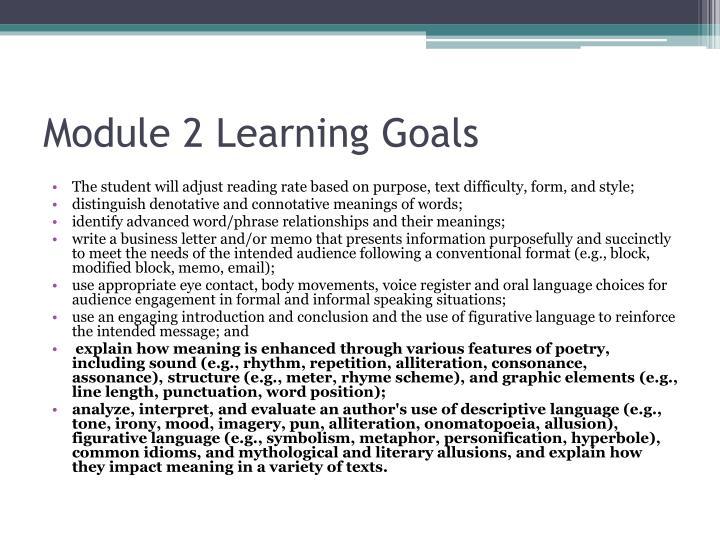 Module 2 learning goals