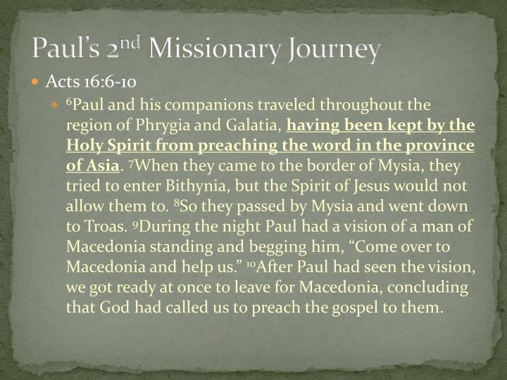 Paul s 2 nd missionary journey