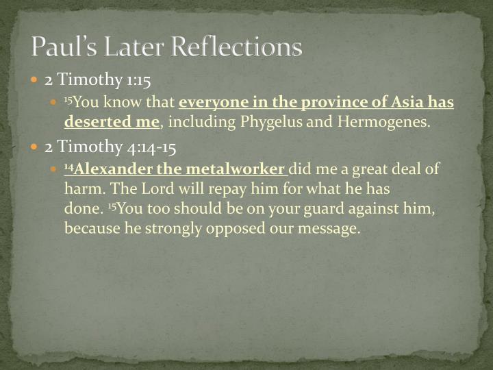 Paul's Later Reflections