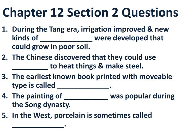 chapter 12 section 2 questions n.