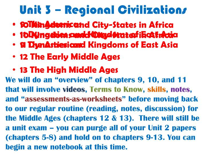 unit 3 regional civilizations n.
