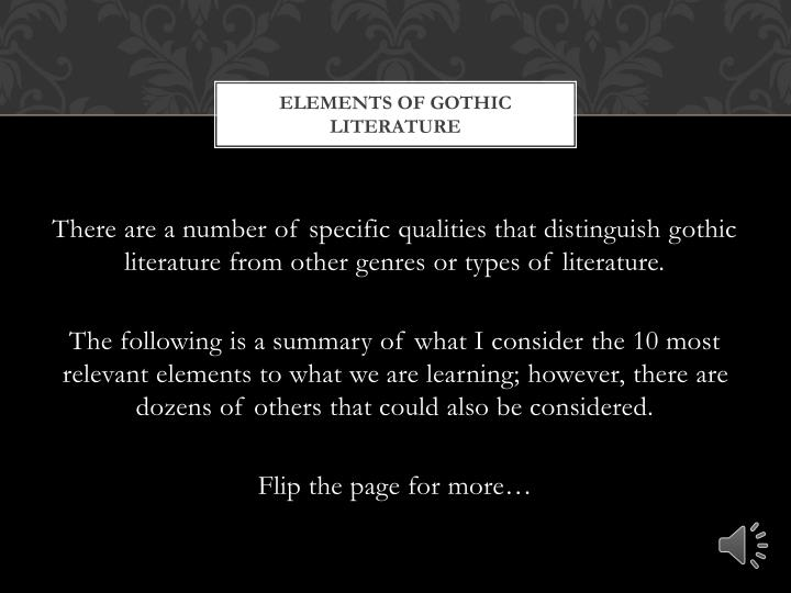 ppt elements of gothic literature powerpoint