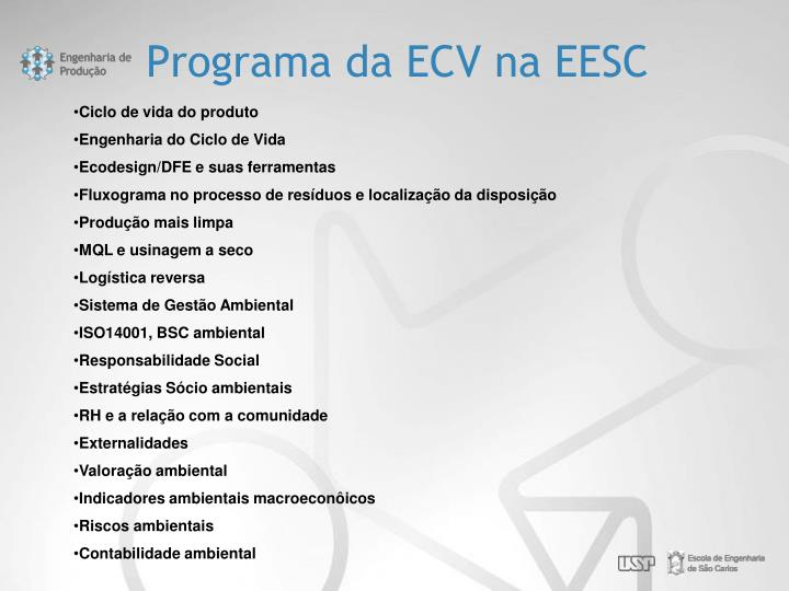 Programa da ECV na EESC