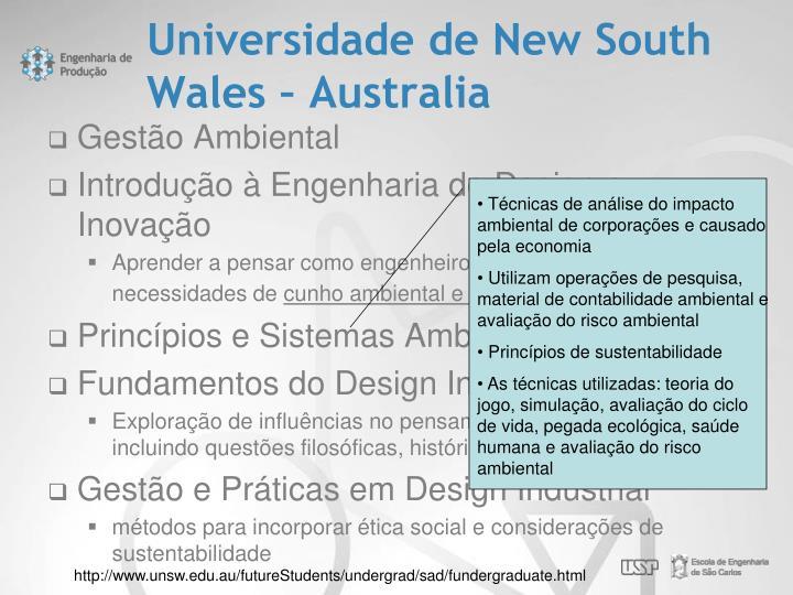 Universidade de New South Wales – Australia
