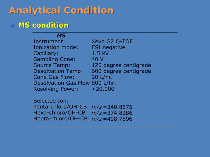 Analytical Condition