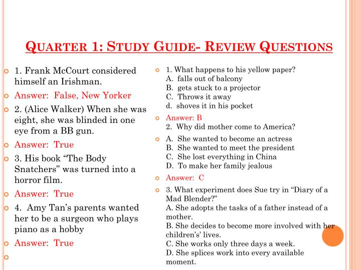 PPT Quarter 1 Study Guide Review Questions PowerPoint