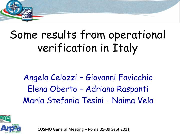 some results from operational verification in italy n.