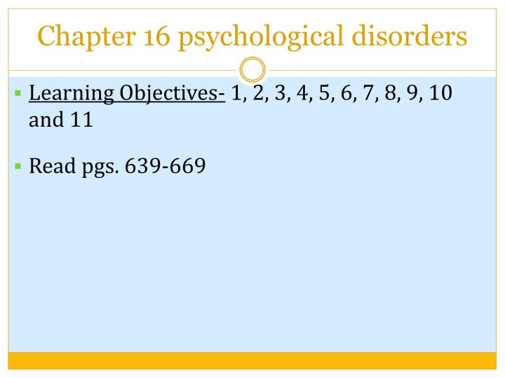 chapter 16 psychological disorders n.