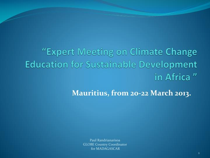 expert meeting on climate change education for sustainable development in africa n.