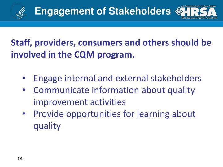 Engagement of Stakeholders