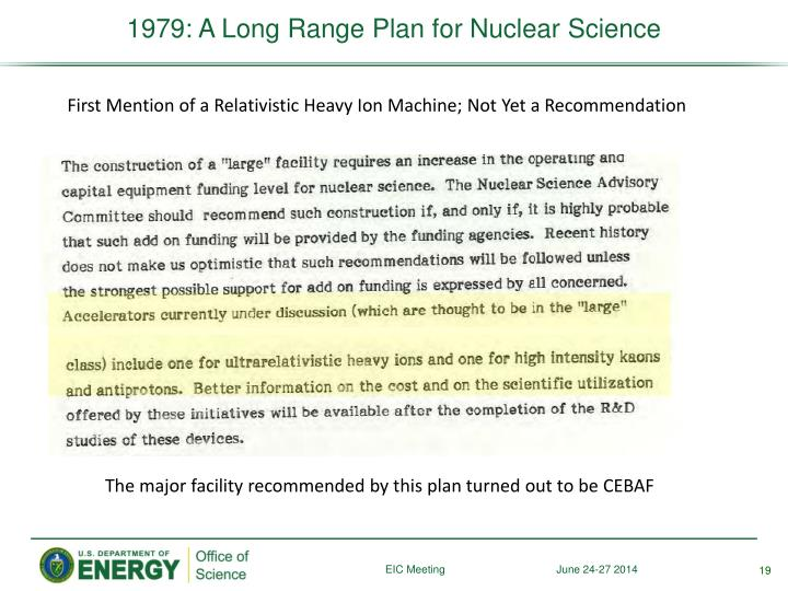 1979: A Long Range Plan for Nuclear Science