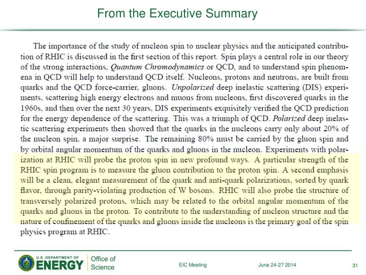 From the Executive Summary