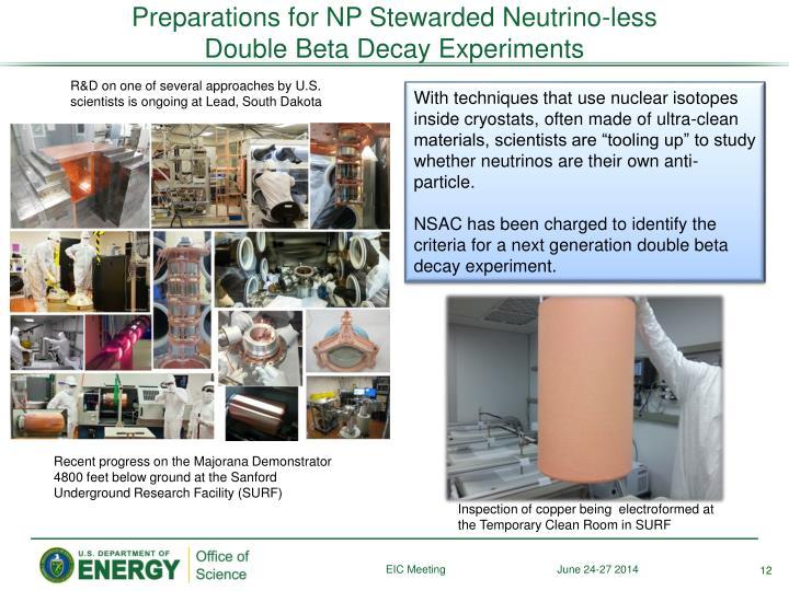 Preparations for NP Stewarded Neutrino-less