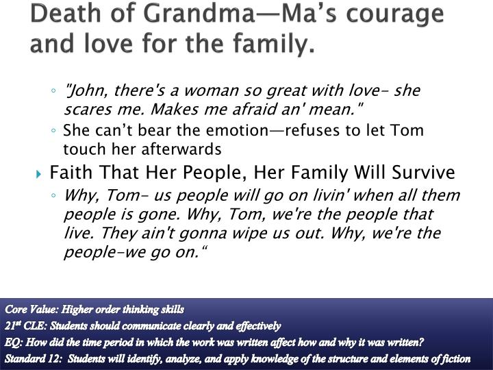 Death of Grandma—Ma's courage and love for the family.