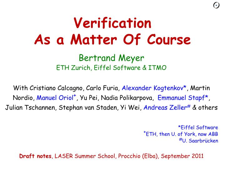 verification as a matter of course n.