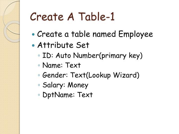 Create a table 1