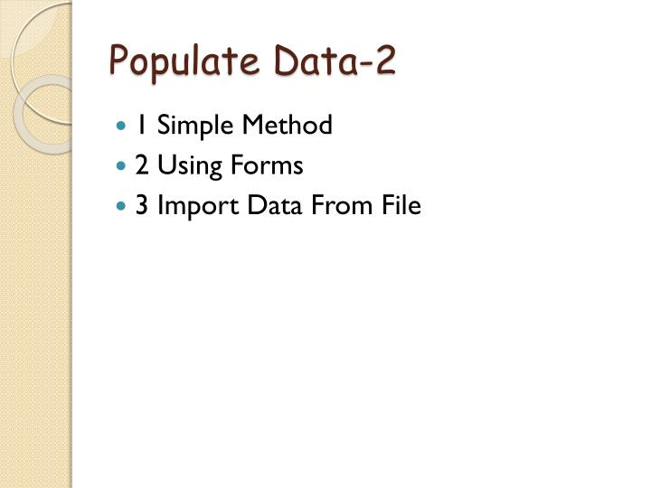 Populate data 2