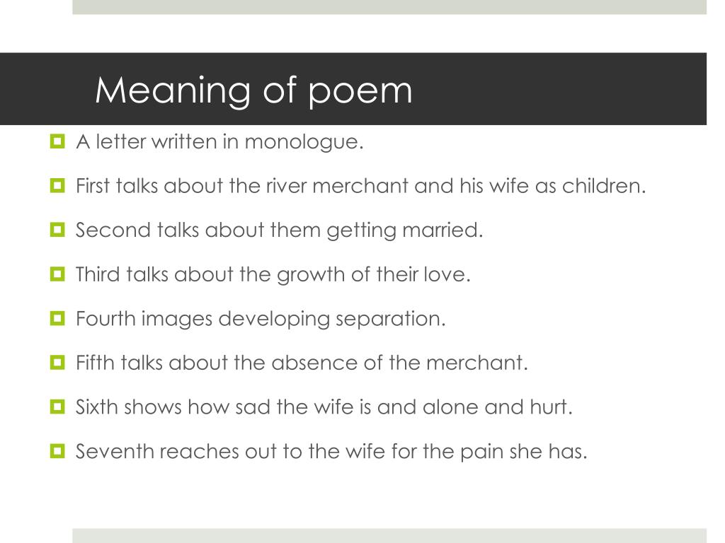 PPT - The River Merchant's Wife PowerPoint Presentation - ID
