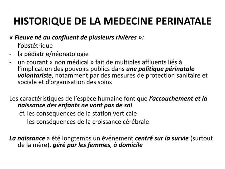 Historique de la medecine perinatale