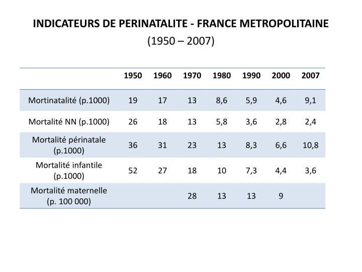 INDICATEURS DE PERINATALITE - FRANCE METROPOLITAINE