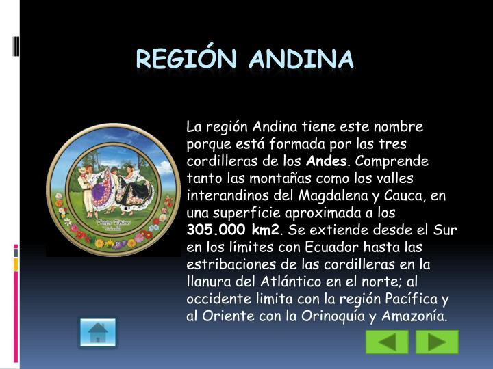 La región Andina tiene este nombre porque está formada por las tres cordilleras de los