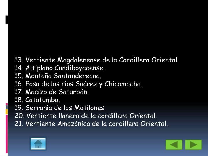 13. Vertiente Magdalenense de la Cordillera Oriental
