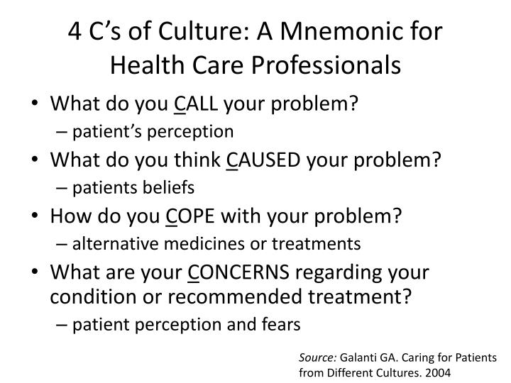 4 C's of Culture: A Mnemonic for Health Care Professionals