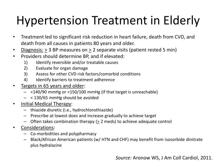 Hypertension Treatment in Elderly