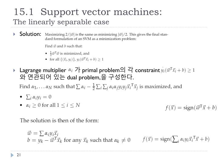 15.1  Support vector machines: