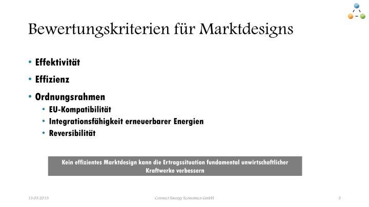 Bewertungskriterien für Marktdesigns