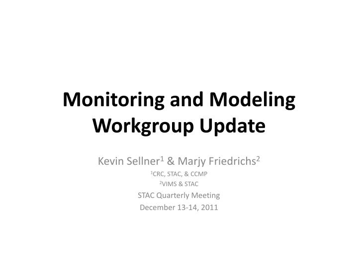 monitoring and modeling workgroup update n.