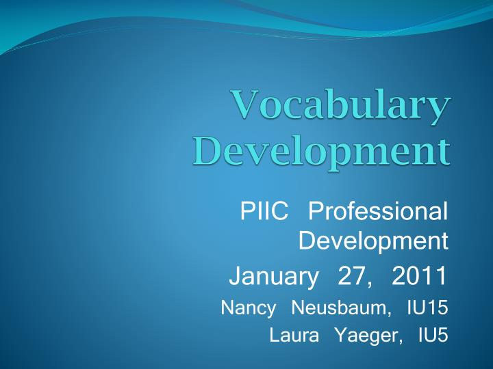 vocabulary development n.