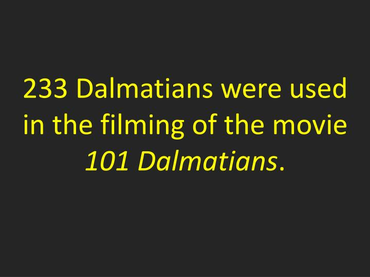 233 Dalmatians were used in the filming of the movie