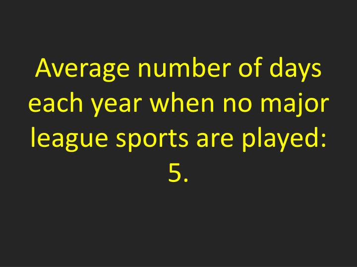Average number of days each year when no major league sports are played: