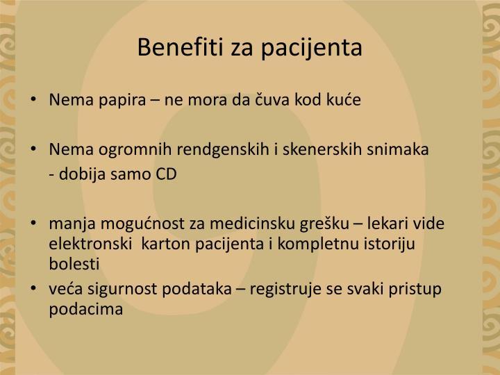 Benefiti za pacijenta
