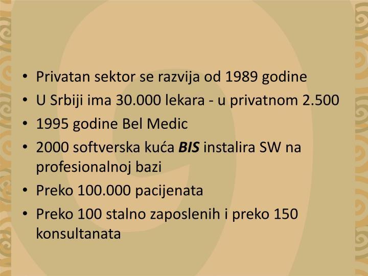 Privatan sektor se razvija od 1989 godine