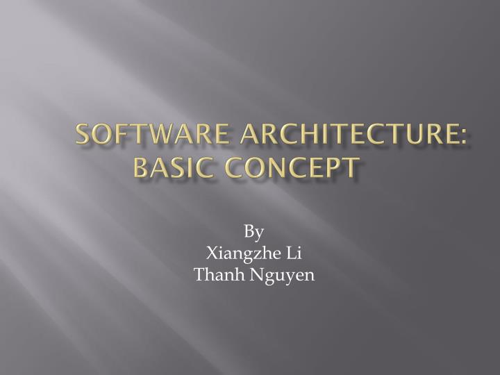 software architecture basic concept n.