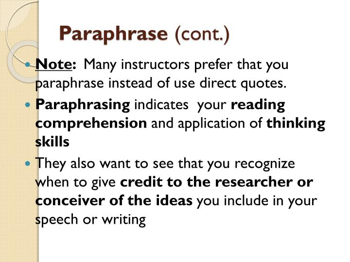 Summarize and paraphrase powerpoint sources