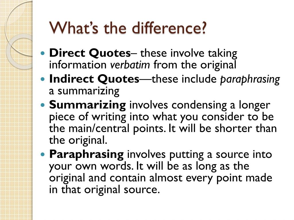 Ppt In Other Word Quoting Summarizing And Paraphrasing Powerpoint Presentation Id 2030542 A Paraphrase Condense Information From Source