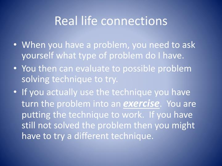 Real life connections