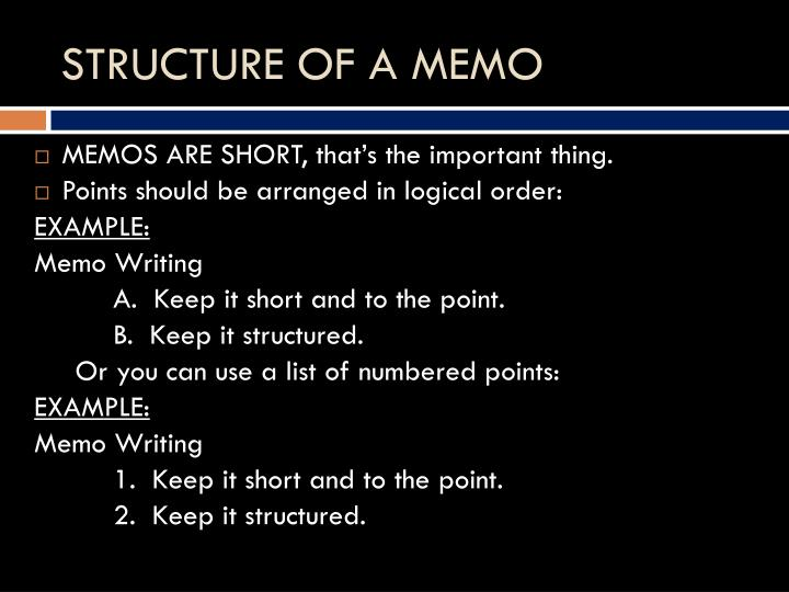 STRUCTURE OF A MEMO