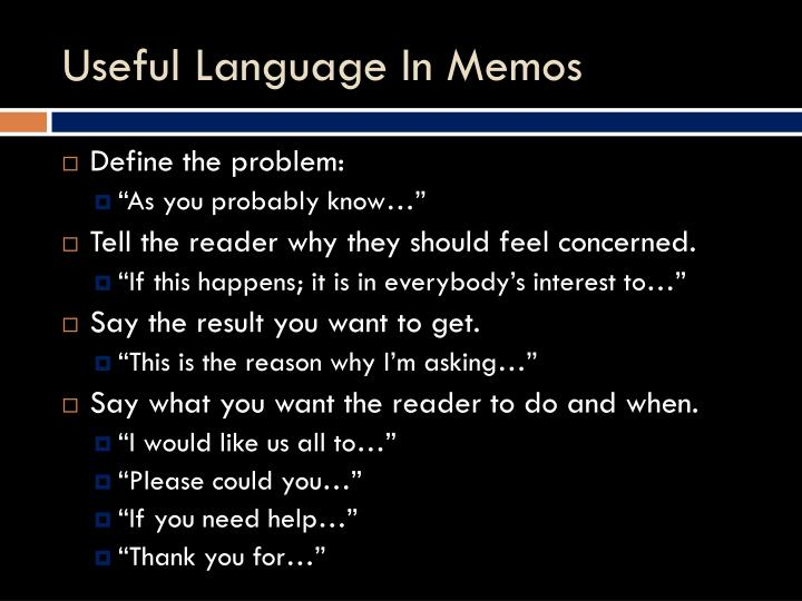 Useful Language In Memos