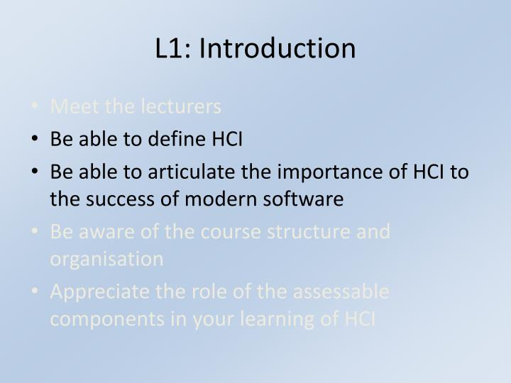 L1 introduction