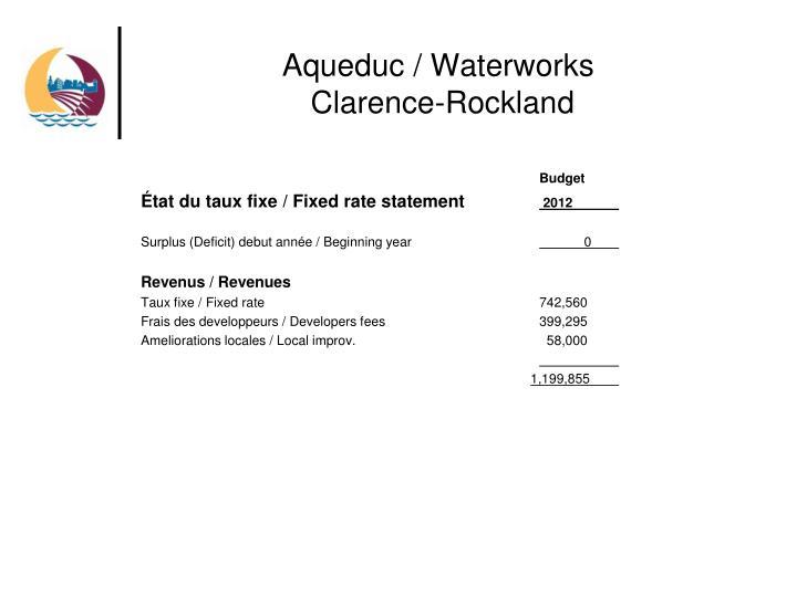 Aqueduc waterworks clarence rockland