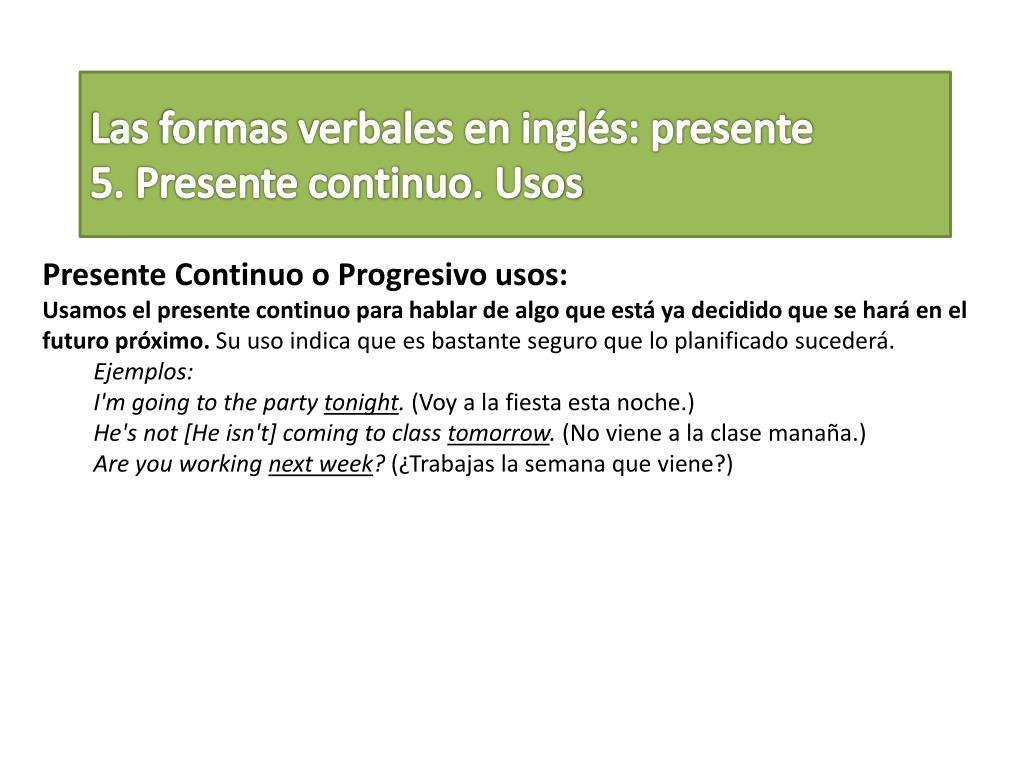 Ppt Las Formas Verbales En Inglés Presente Powerpoint