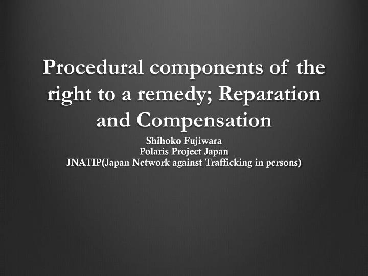 procedural components of the right to a remedy reparation and c ompensation n.