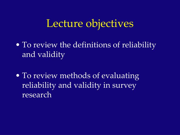 research methods reliability and validity