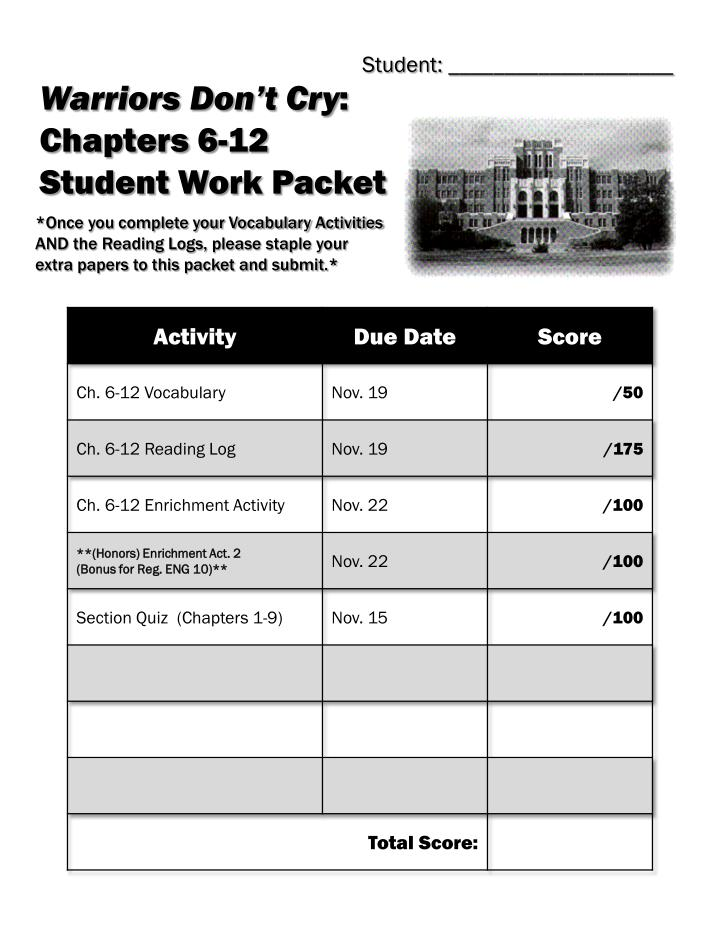 PPT Warriors Don T Cry Chapters 6 12 Student Work Packet