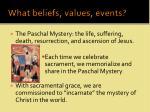 what beliefs values events