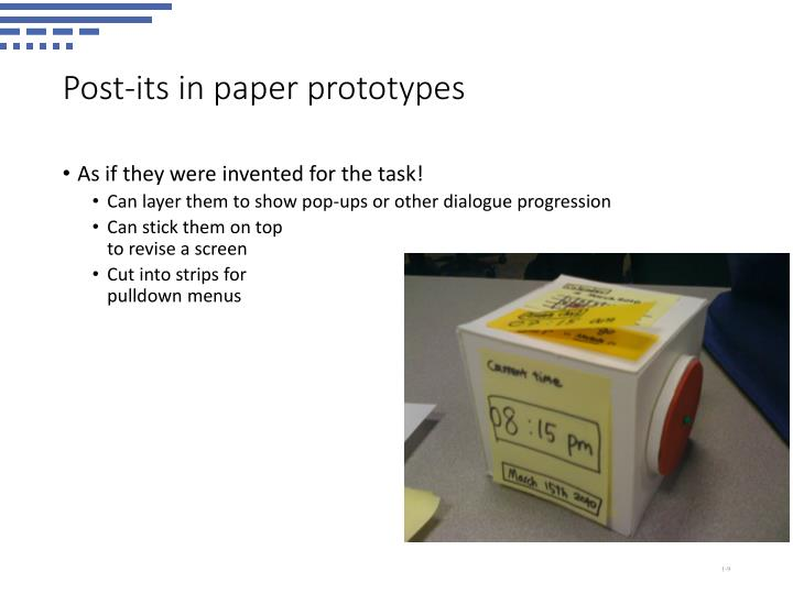 Post-its in paper prototypes